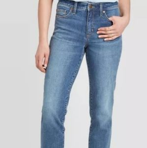 High-Rise Striped Straight Cropped Jeans